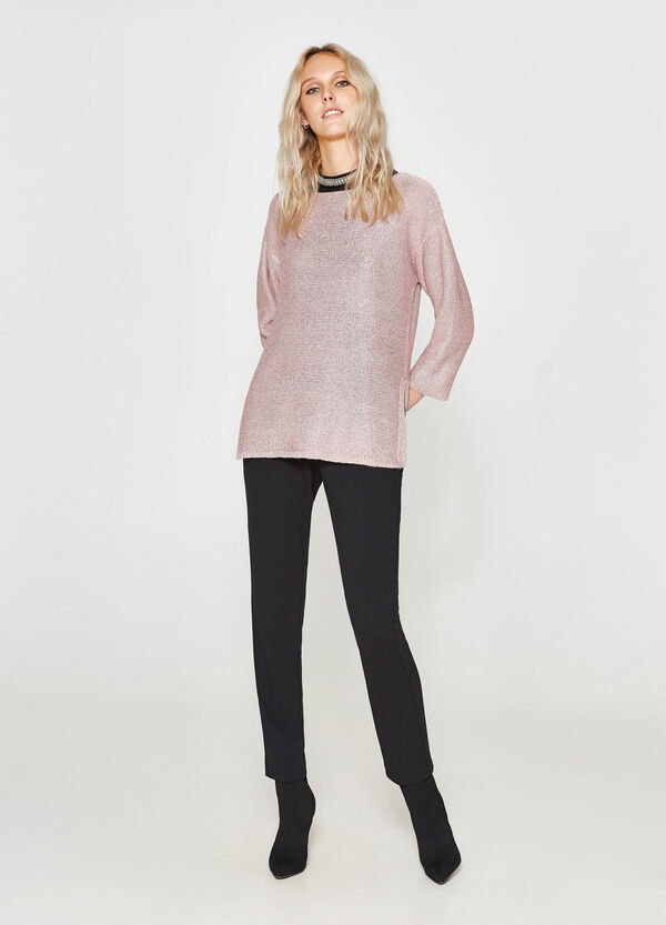 Pullover with three-quarter sleeves and sequins