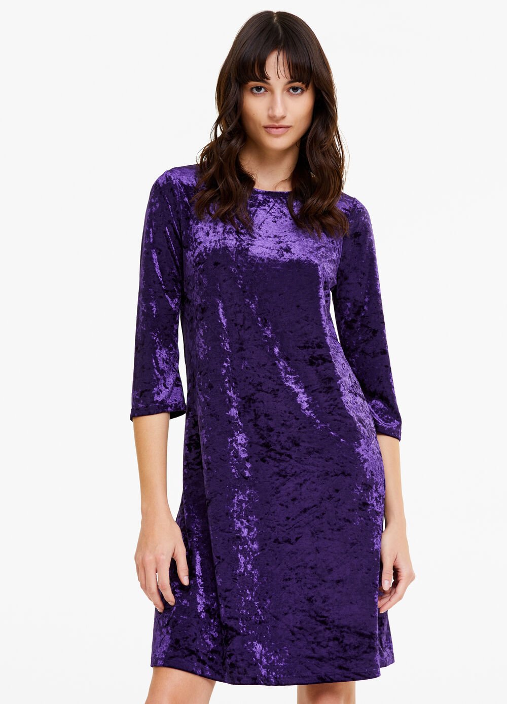 Solid colour velvet flared dress
