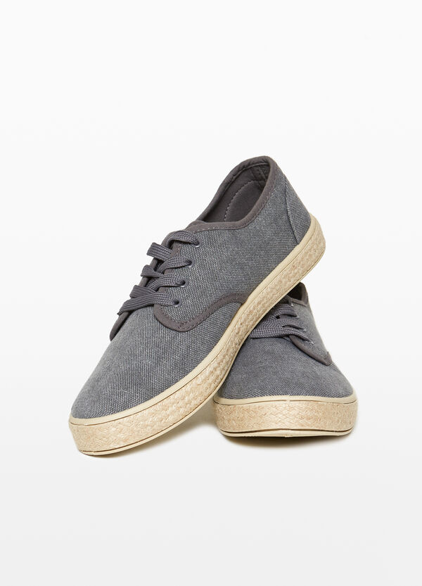 Canvas sneakers with braided sole