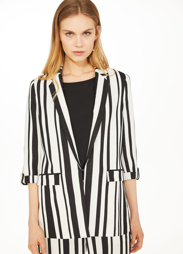 Striped patterned blazer with lapels