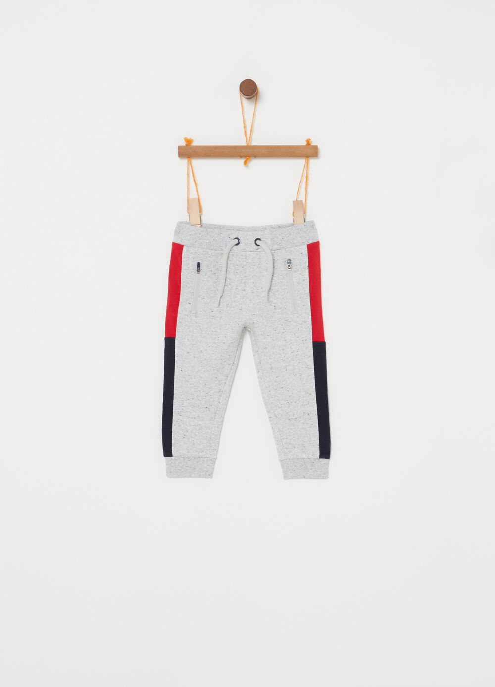Mélange trousers with drawstring and zip