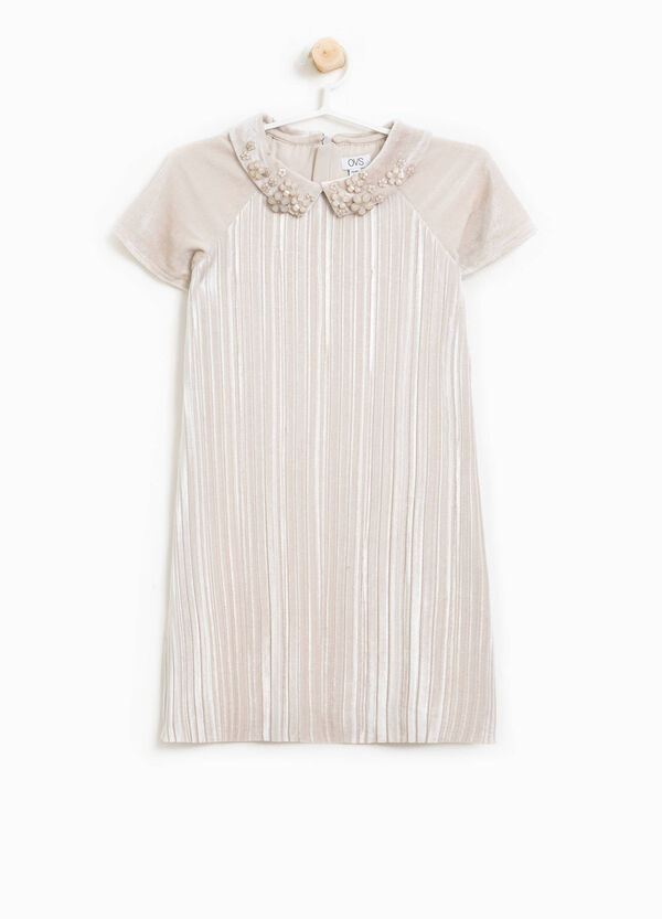 Pleated dress in velour with collar | OVS