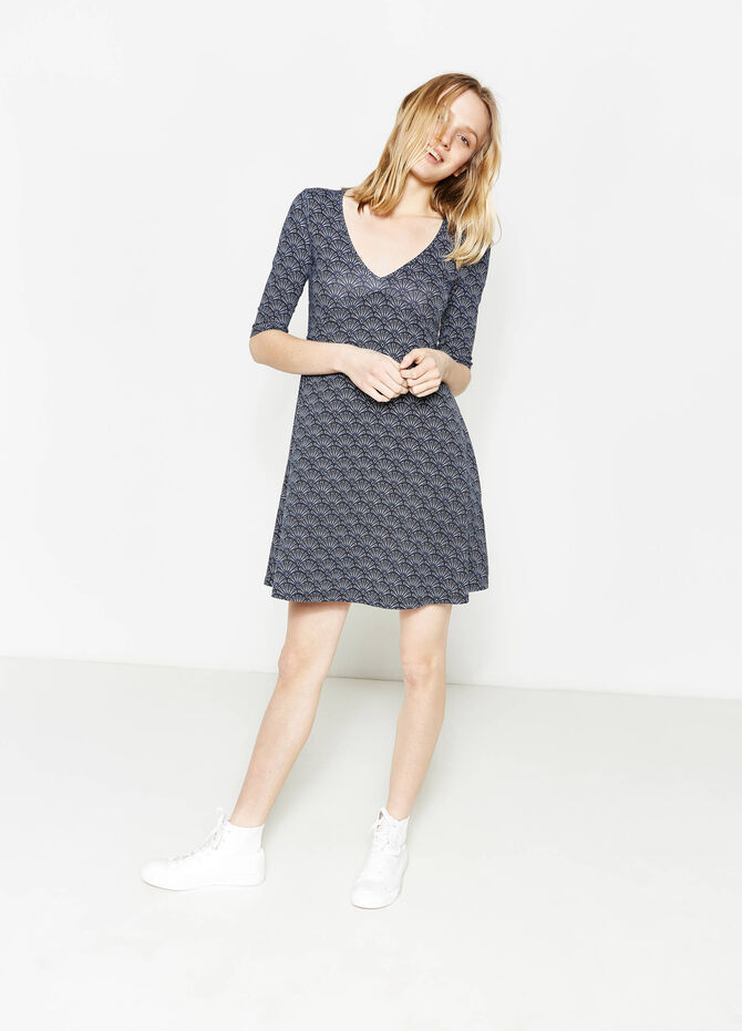 V-neck stretch cotton dress