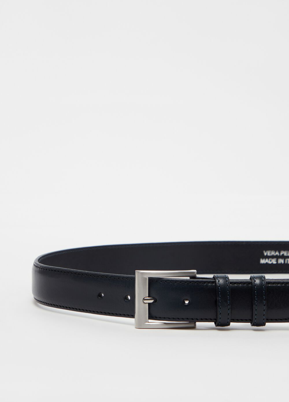 Genuine leather belt with square buckle
