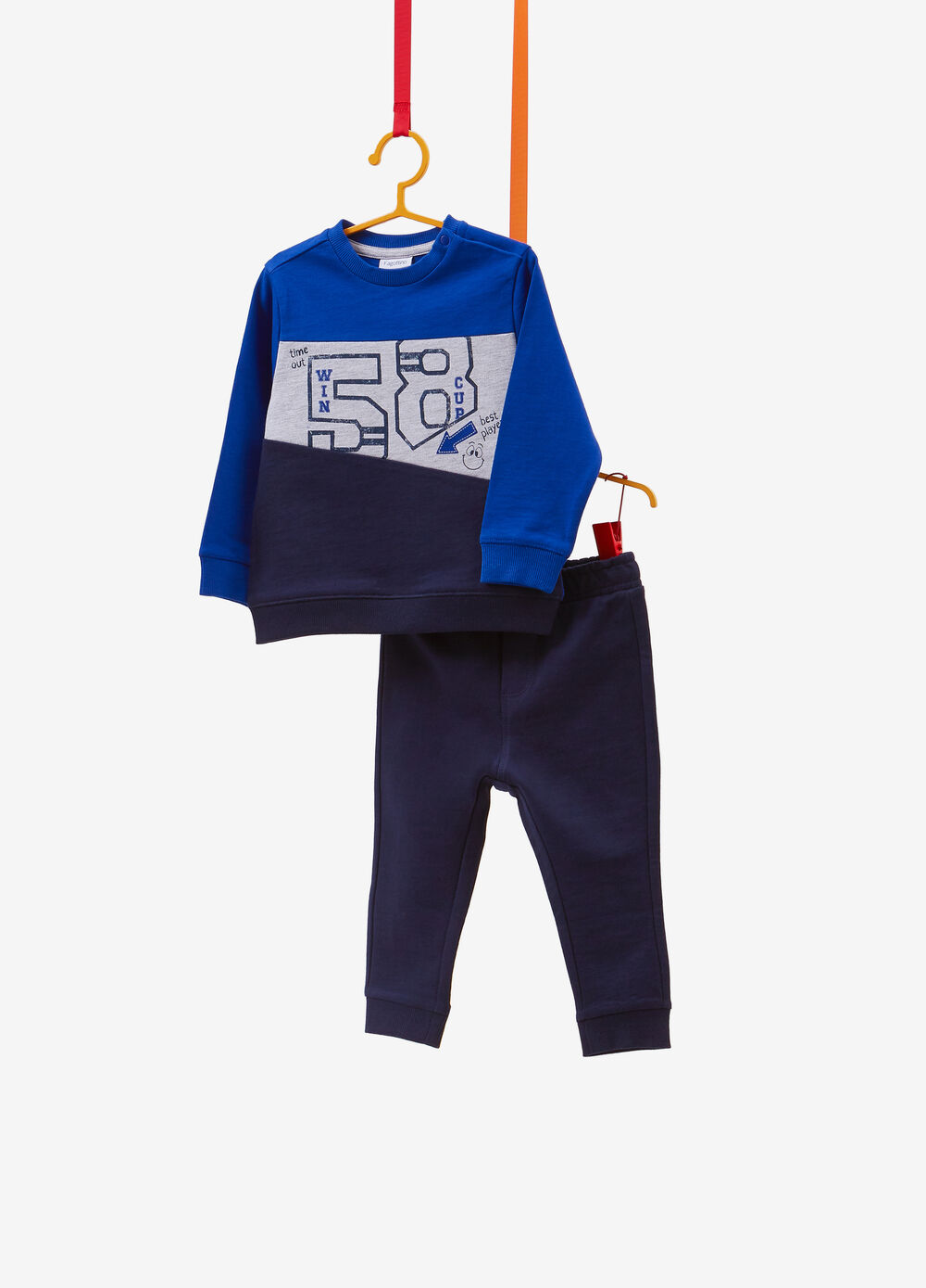 Two-tone lettering 100% cotton tracksuit