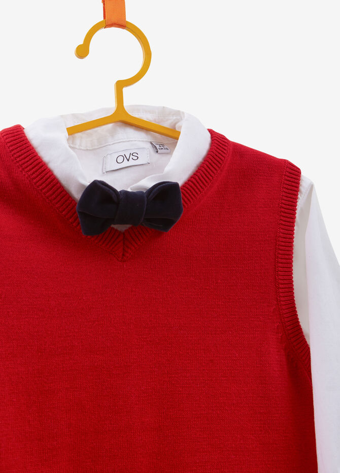 Shirt and waistcoat set with bow-tie