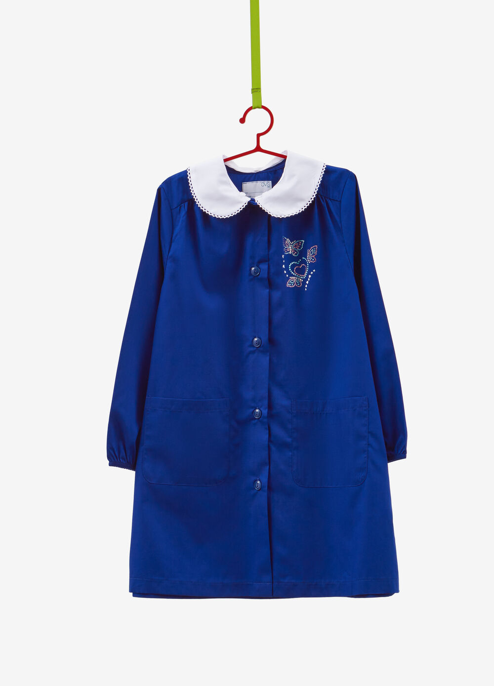Cotton blend smock with butterfly diamantés
