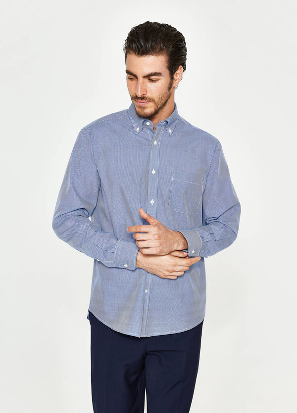 Regular-fit micro-check formal shirt