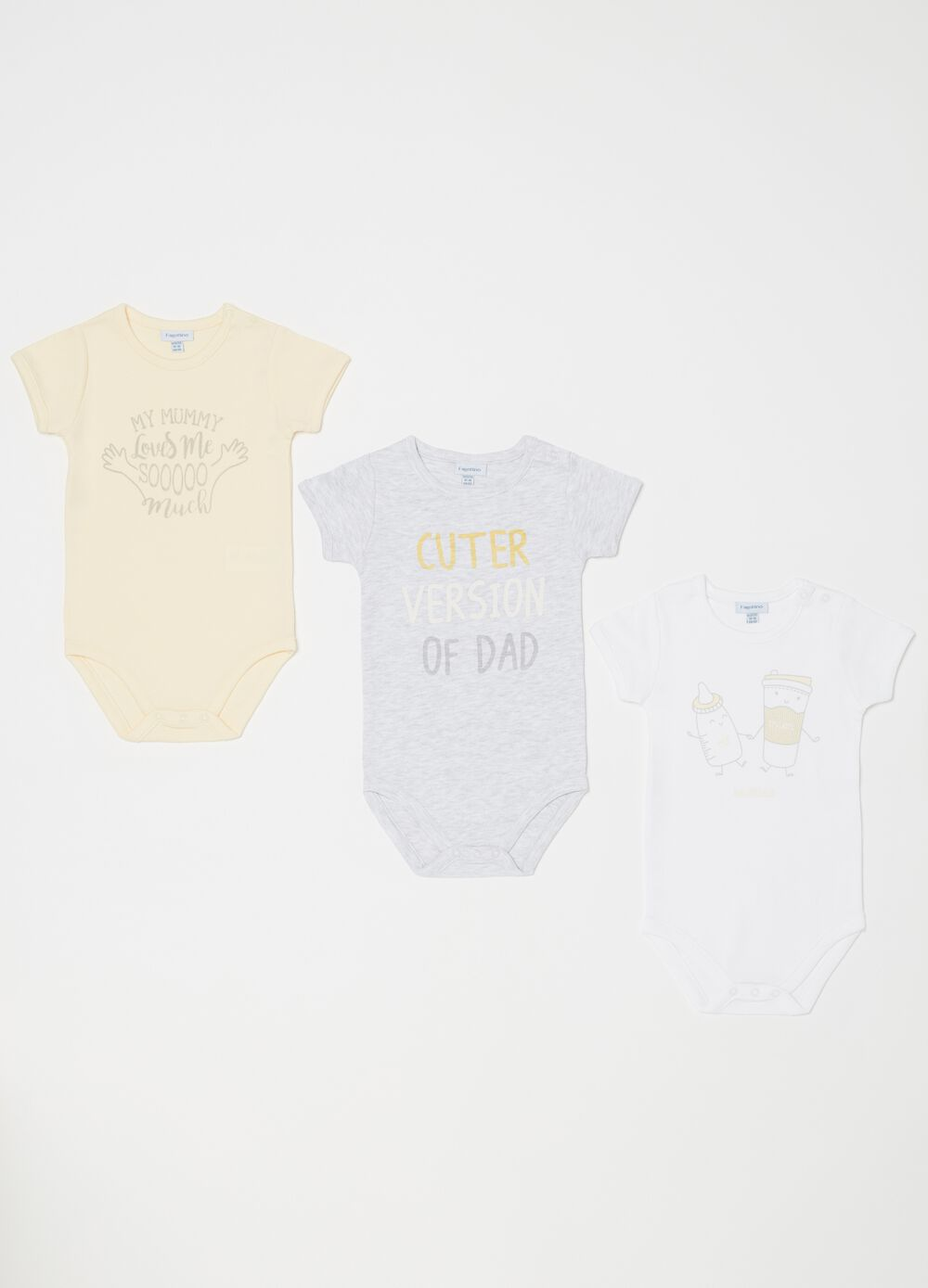 Set of three biocotton bodysuits with short sleeves