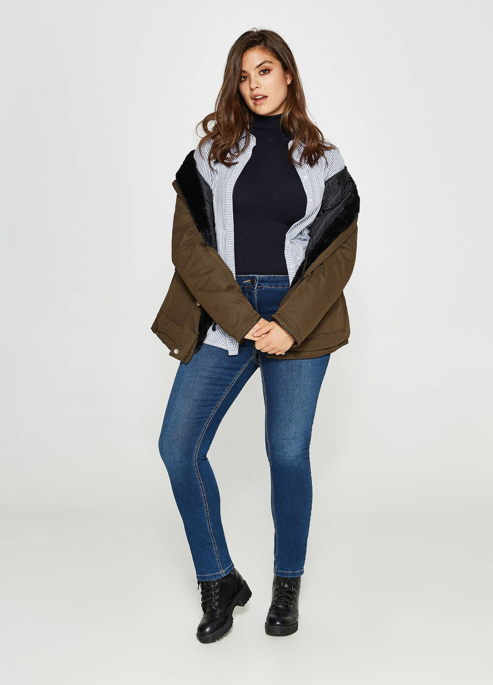 Jeans Relaxed Fit Washed-out-Effekt Curvy