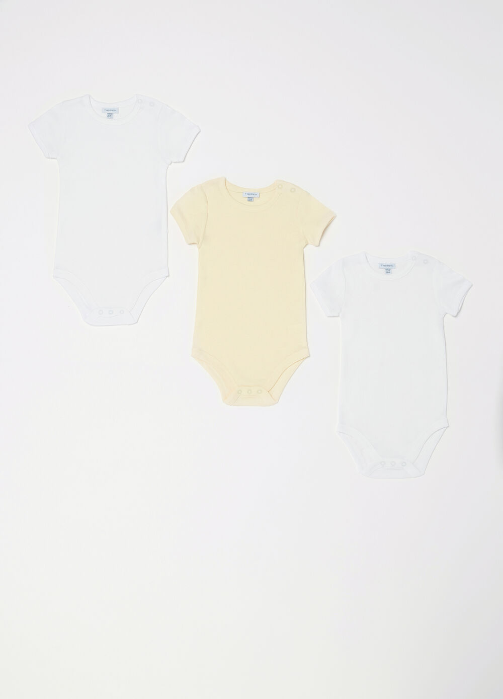 Three-pack solid colour bodysuits in 100% cotton