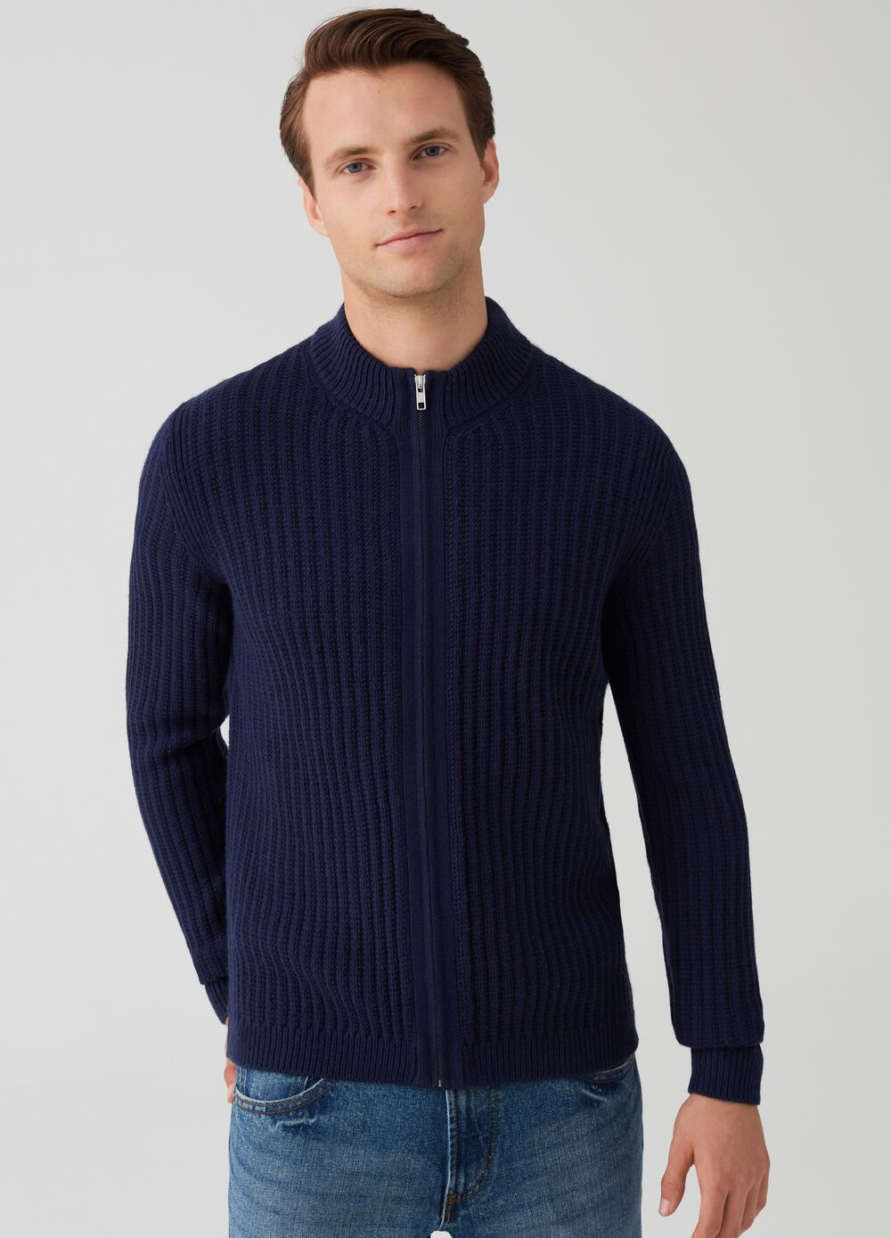 Knitted cardigan with high neck and zip