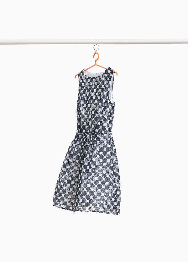 Lace dress with polka dot pattern