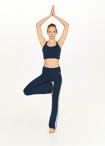 Stretch cotton trousers with bands