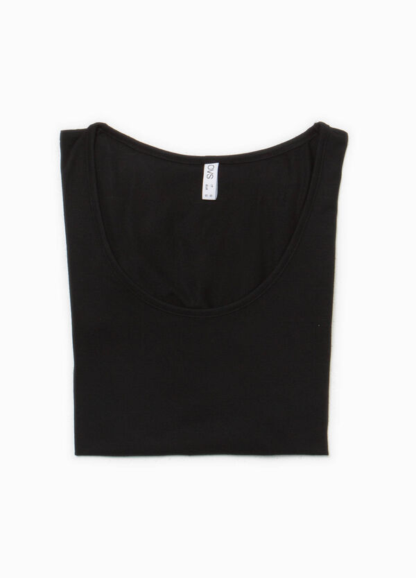 T-shirt intima viscosa stretch con pizzo