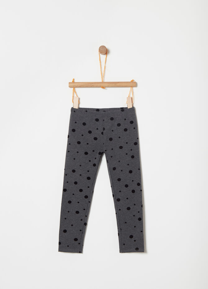 Leggings in fleece with polka dot flocked print