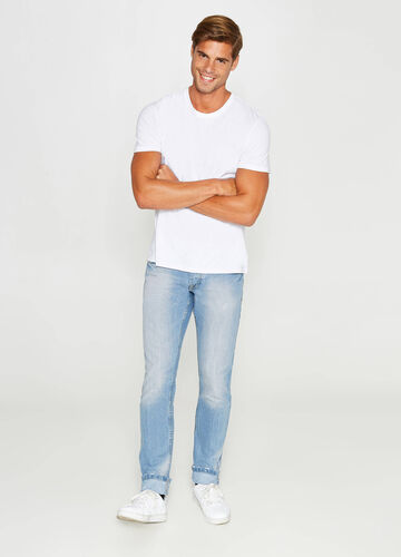 Slim-fit jeans with discolouring