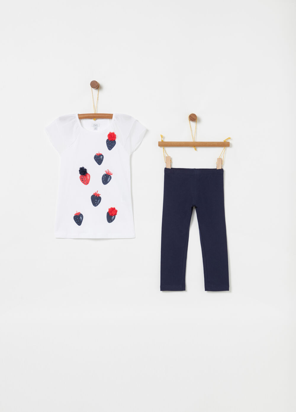 T-shirt and leggings jogging set with print and diamantés