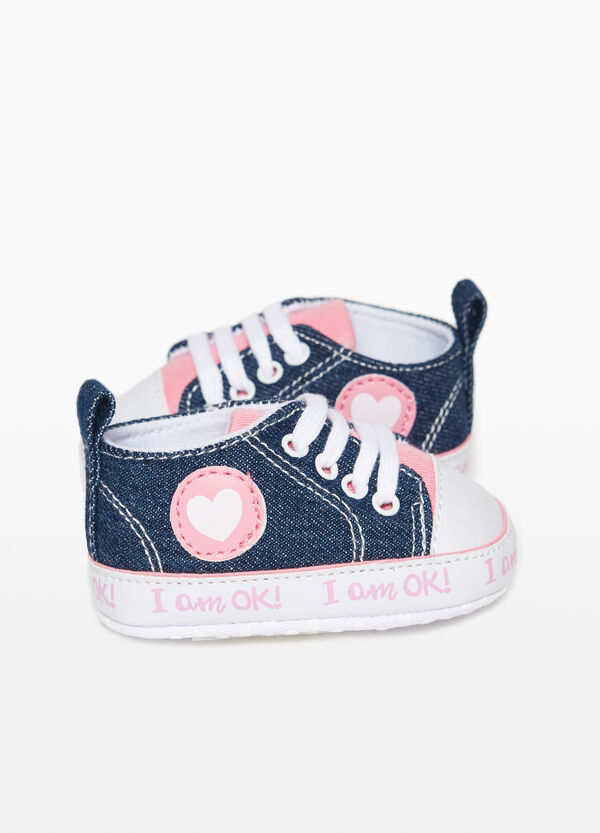 Denim sneakers with print and patch