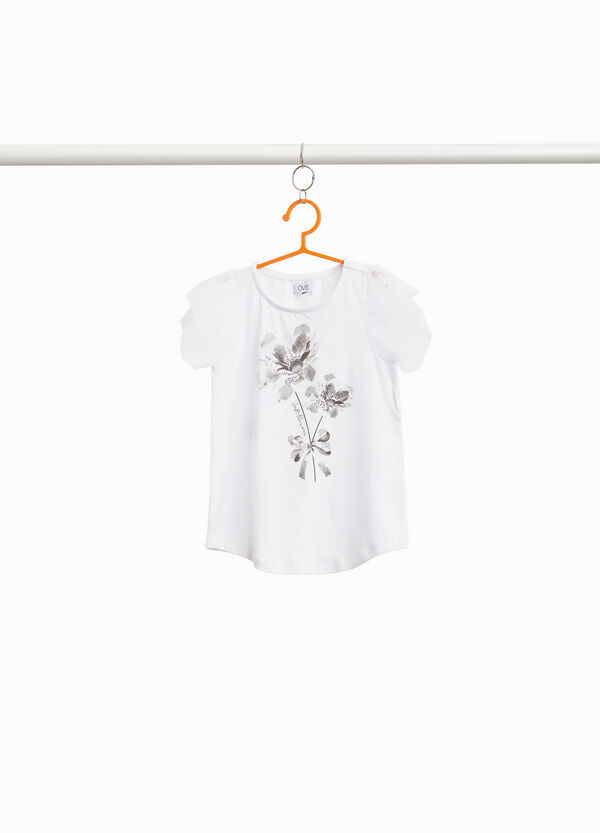 T-shirt with sleeves in printed tulle