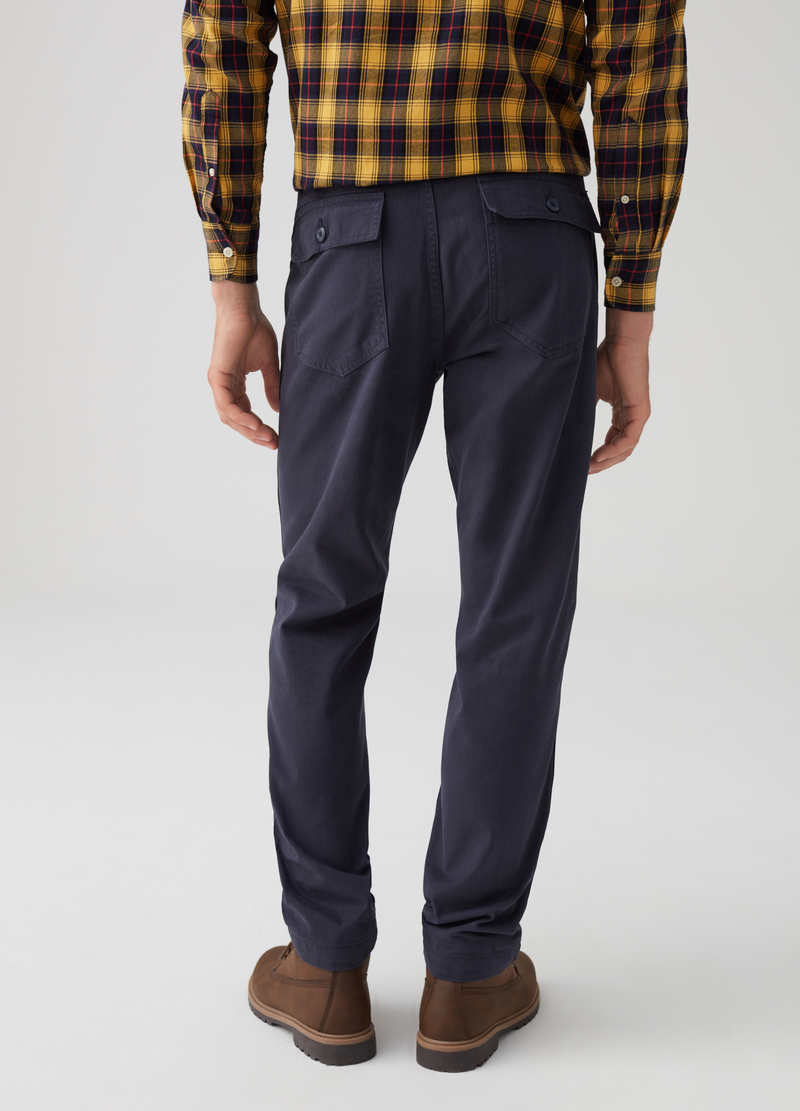 100% cotton regular-fit trousers with pockets image number null