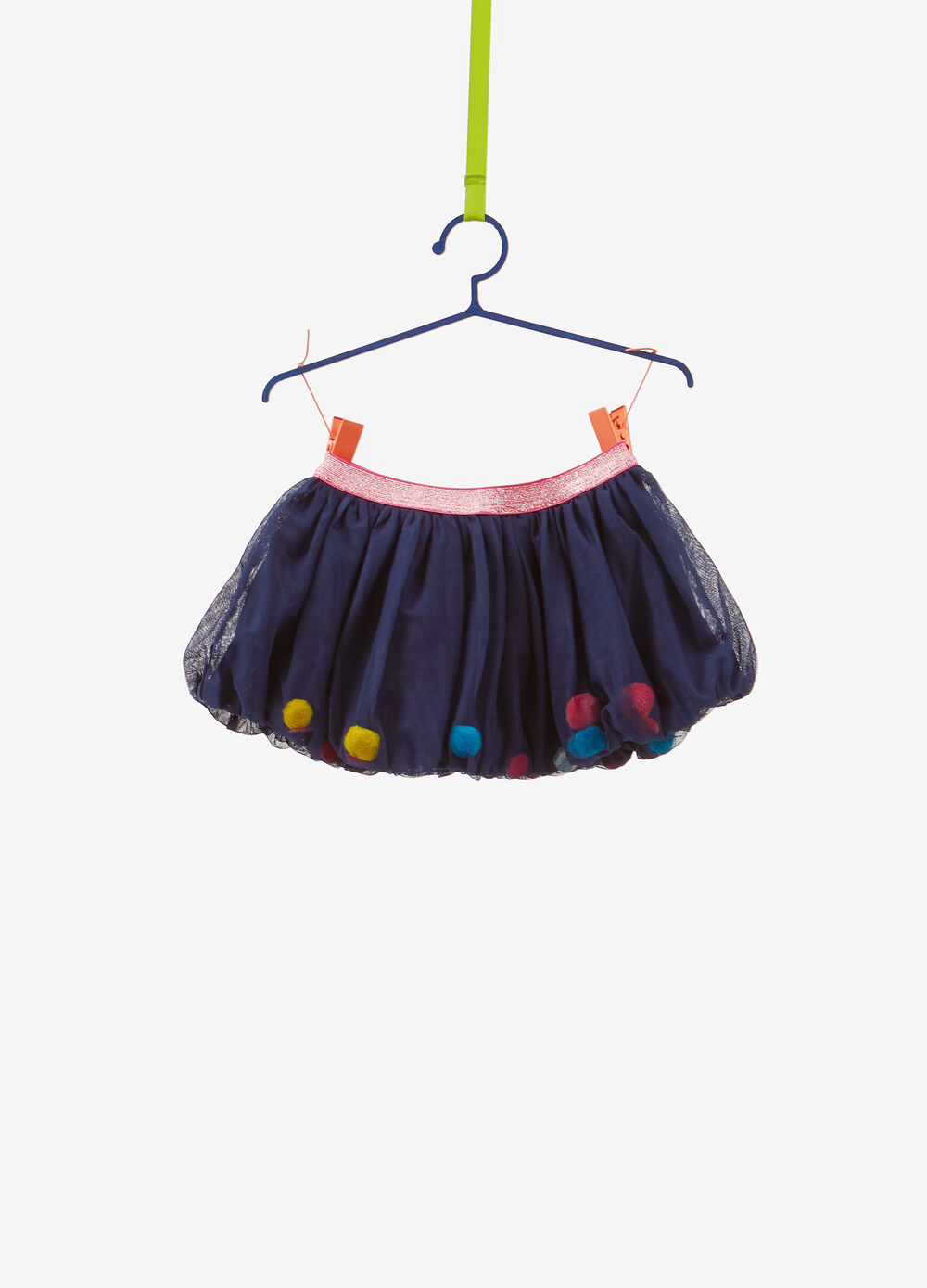Skirt with pompoms and glitter waist