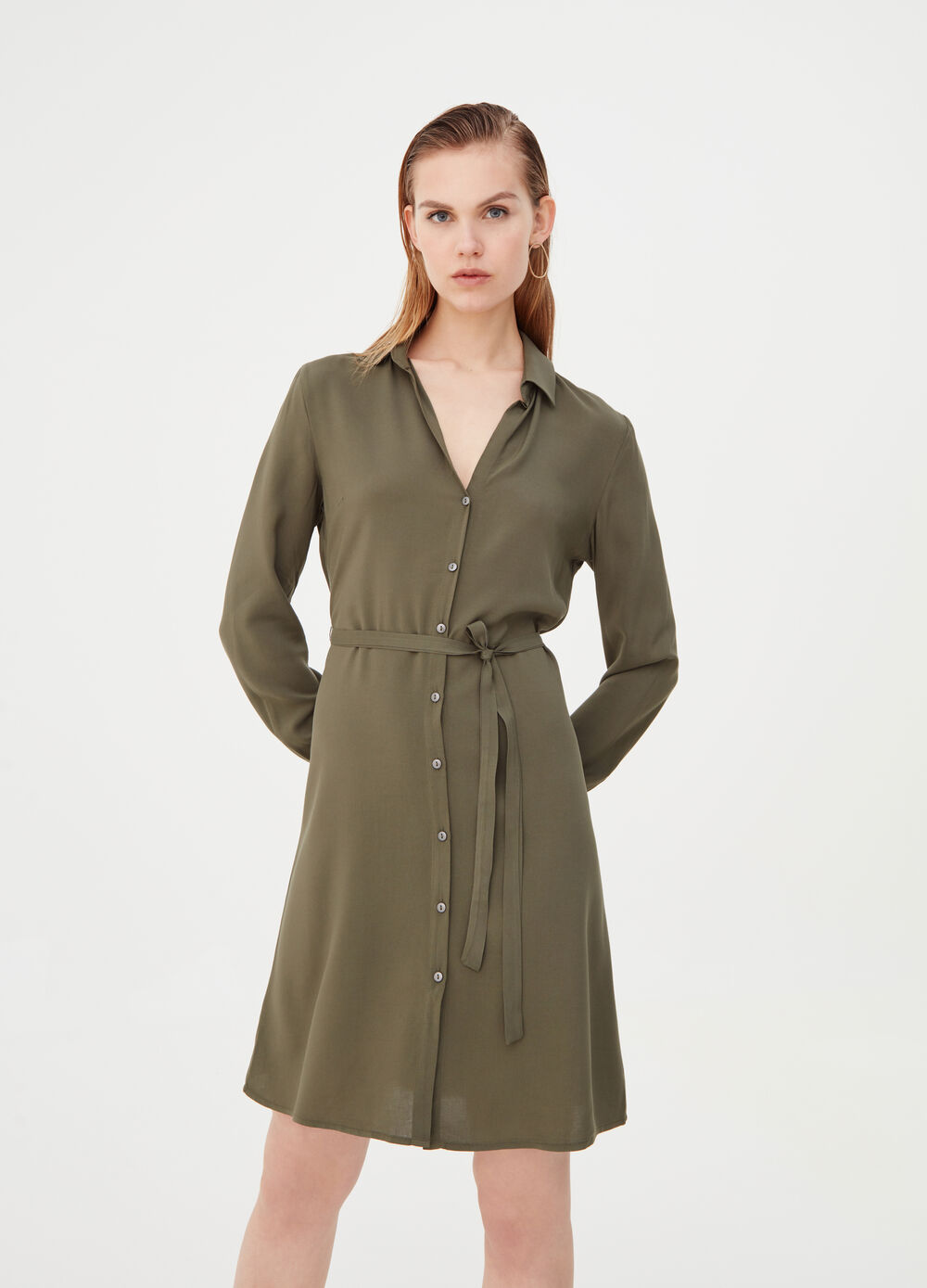 Shirt dress with polo neck and belt