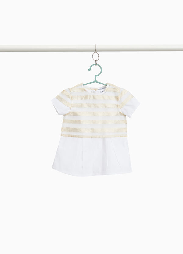Faux layered striped blouse in 100% cotton