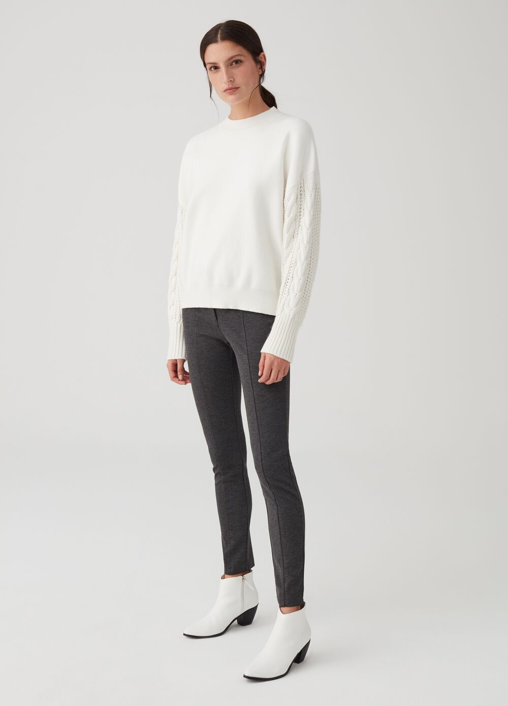 Stretch leggings with pockets and button