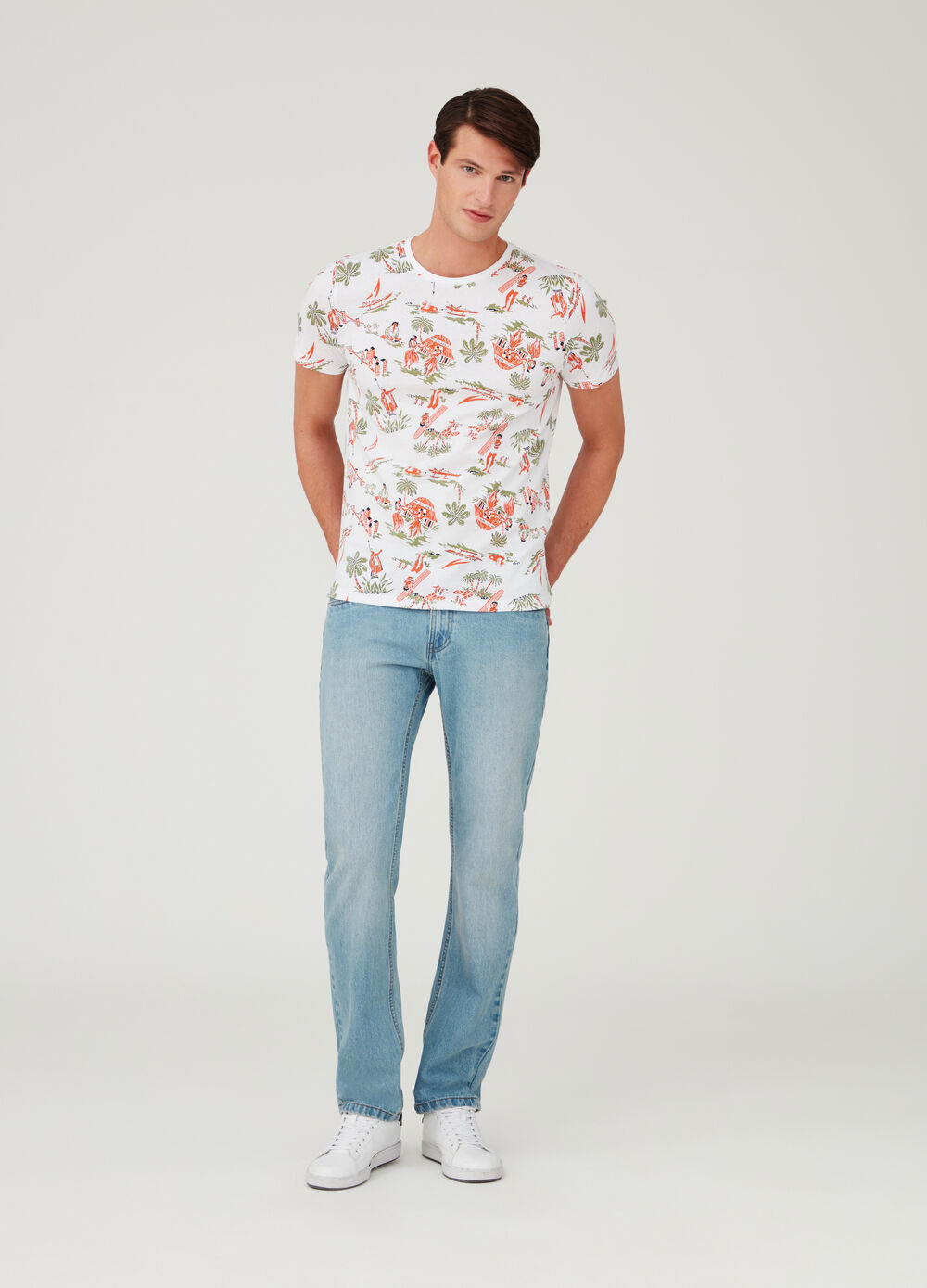 T-shirt in jersey con stampa all-over