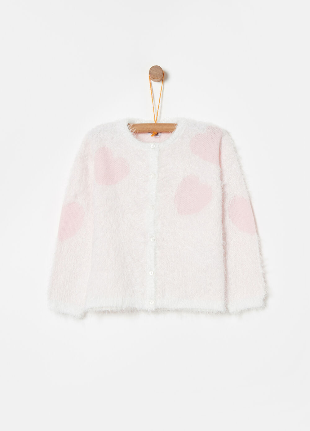 Knitted cardigan with hearts jacquard