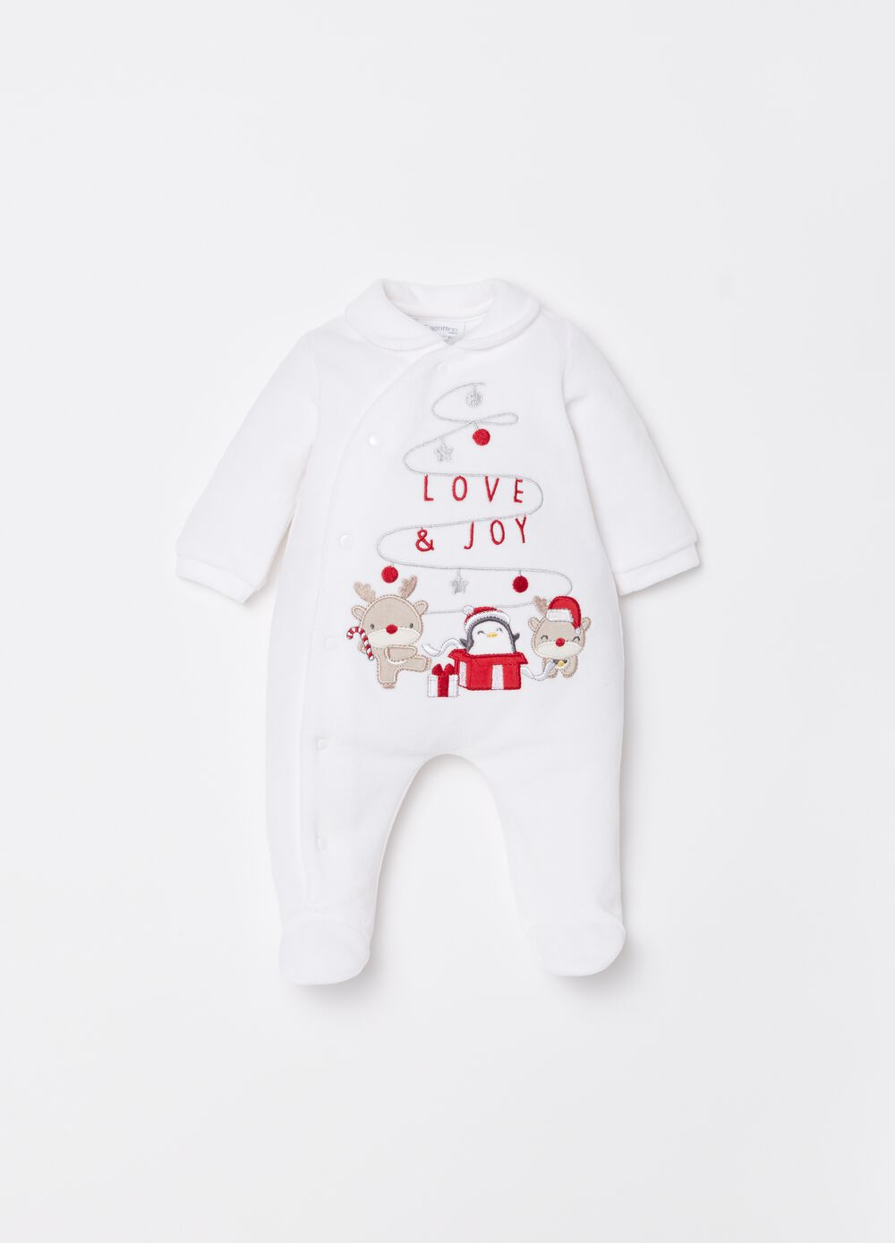 Onesie with feet and Christmas embroidery