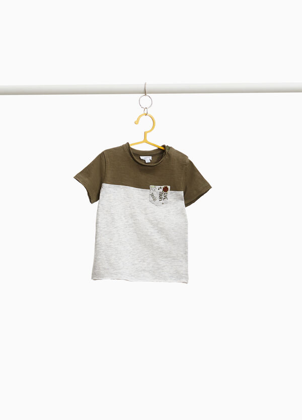 Printed T-shirt in 100% cotton with pocket
