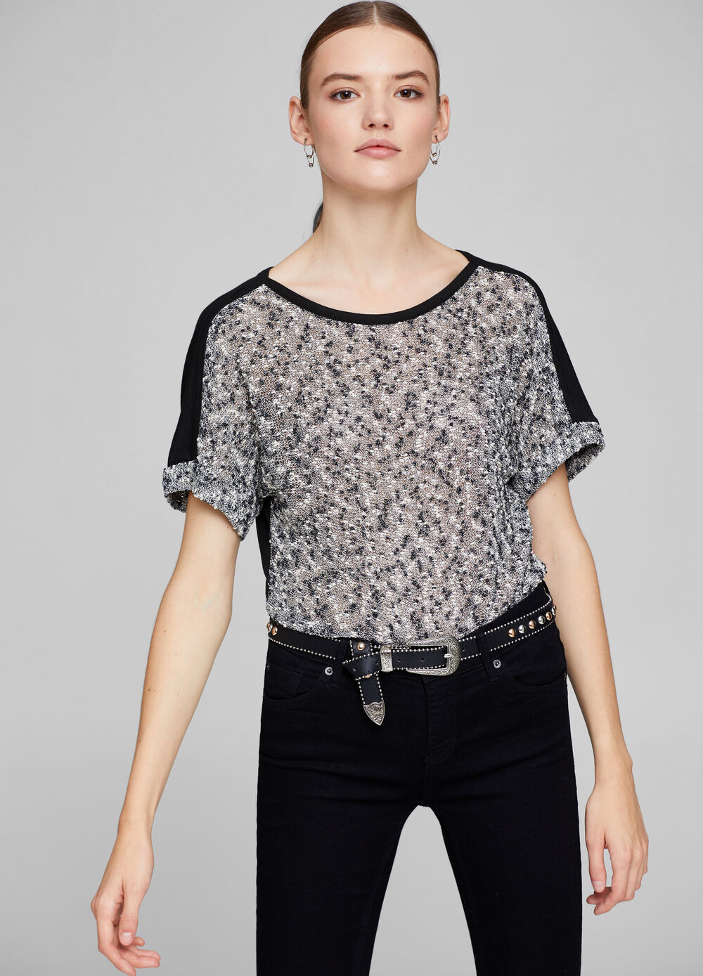 Two-tone viscose blend T-shirt