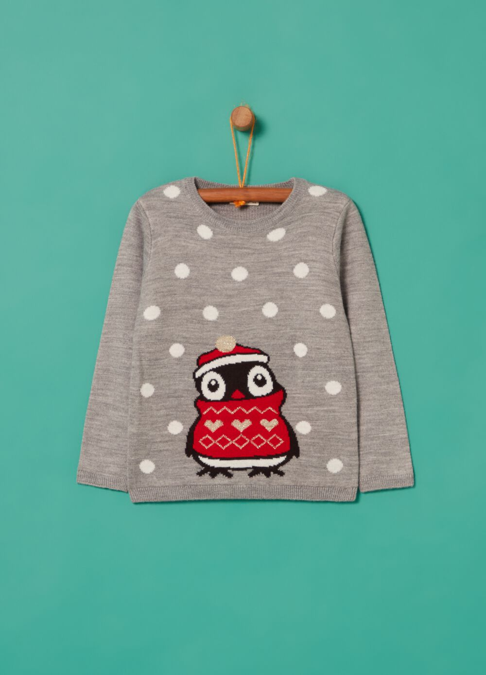Penguin print pullover with lurex
