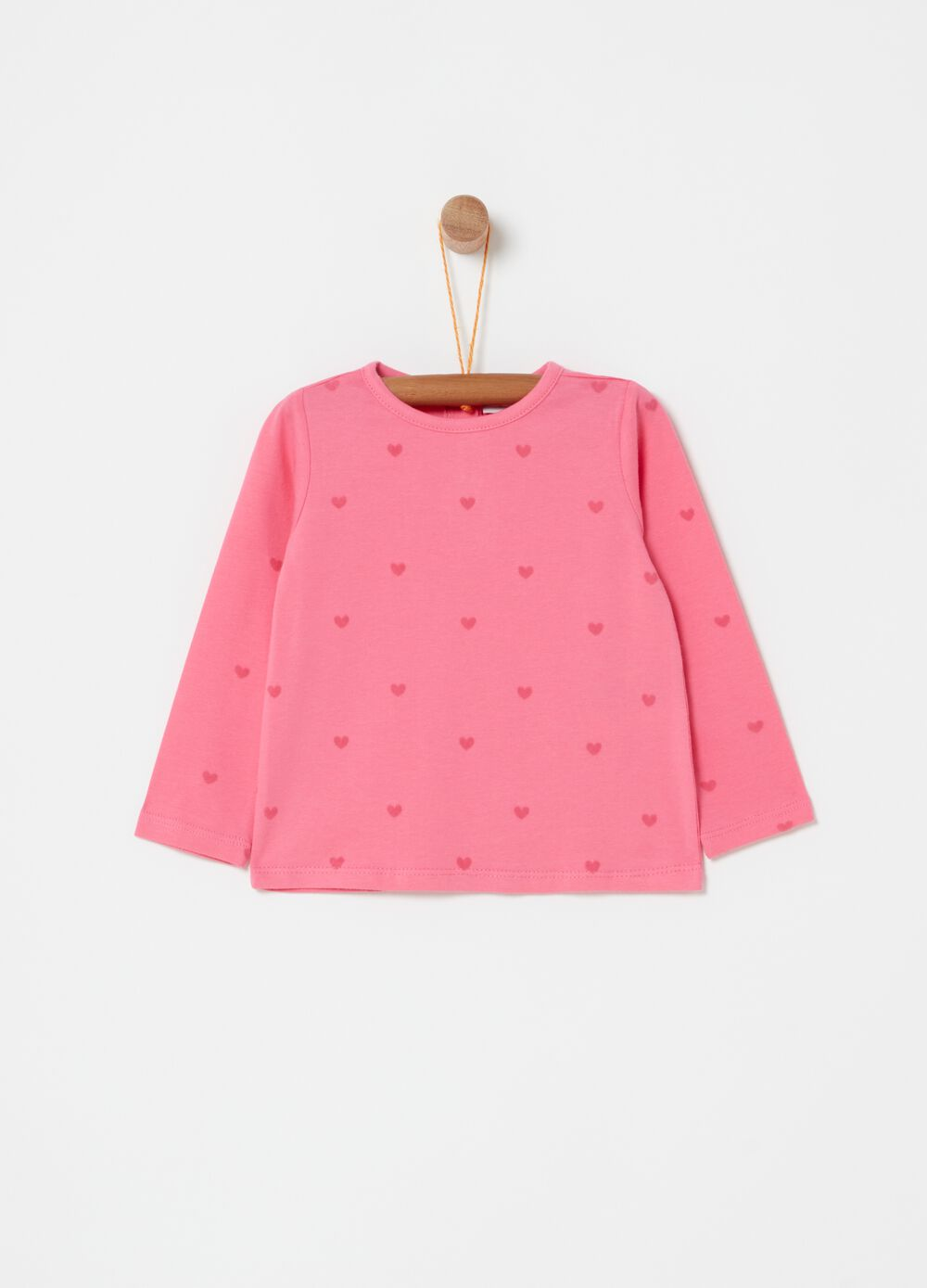 Long-sleeved organic cotton T-shirt with hearts