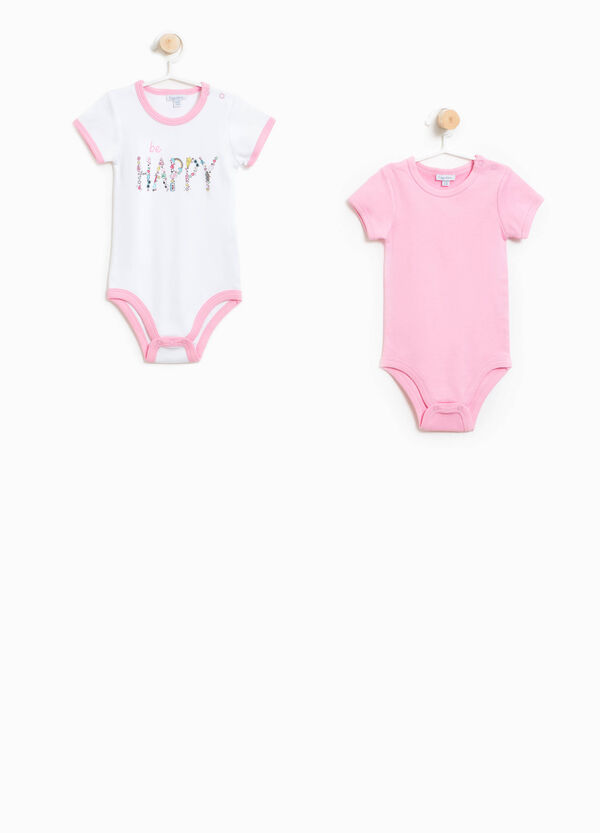 Two-pair pack solid colour and printed bodysuits | OVS