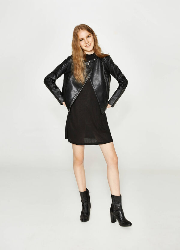 Leather-look jacket with asymmetric zip fastening
