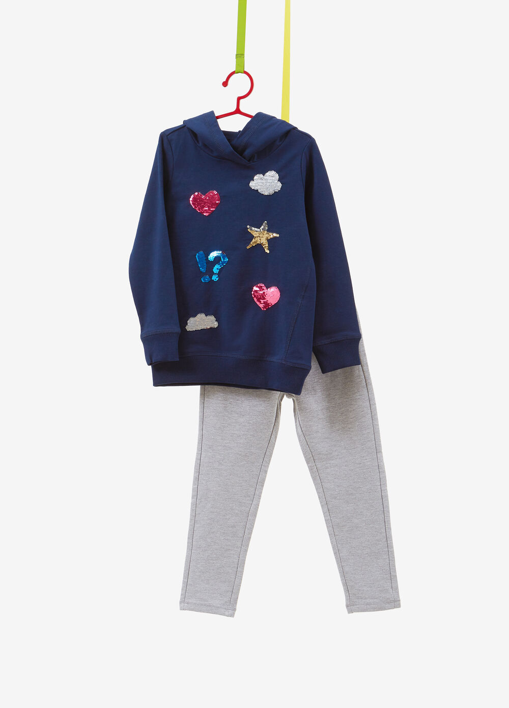 Stretch cotton tracksuit with sequins