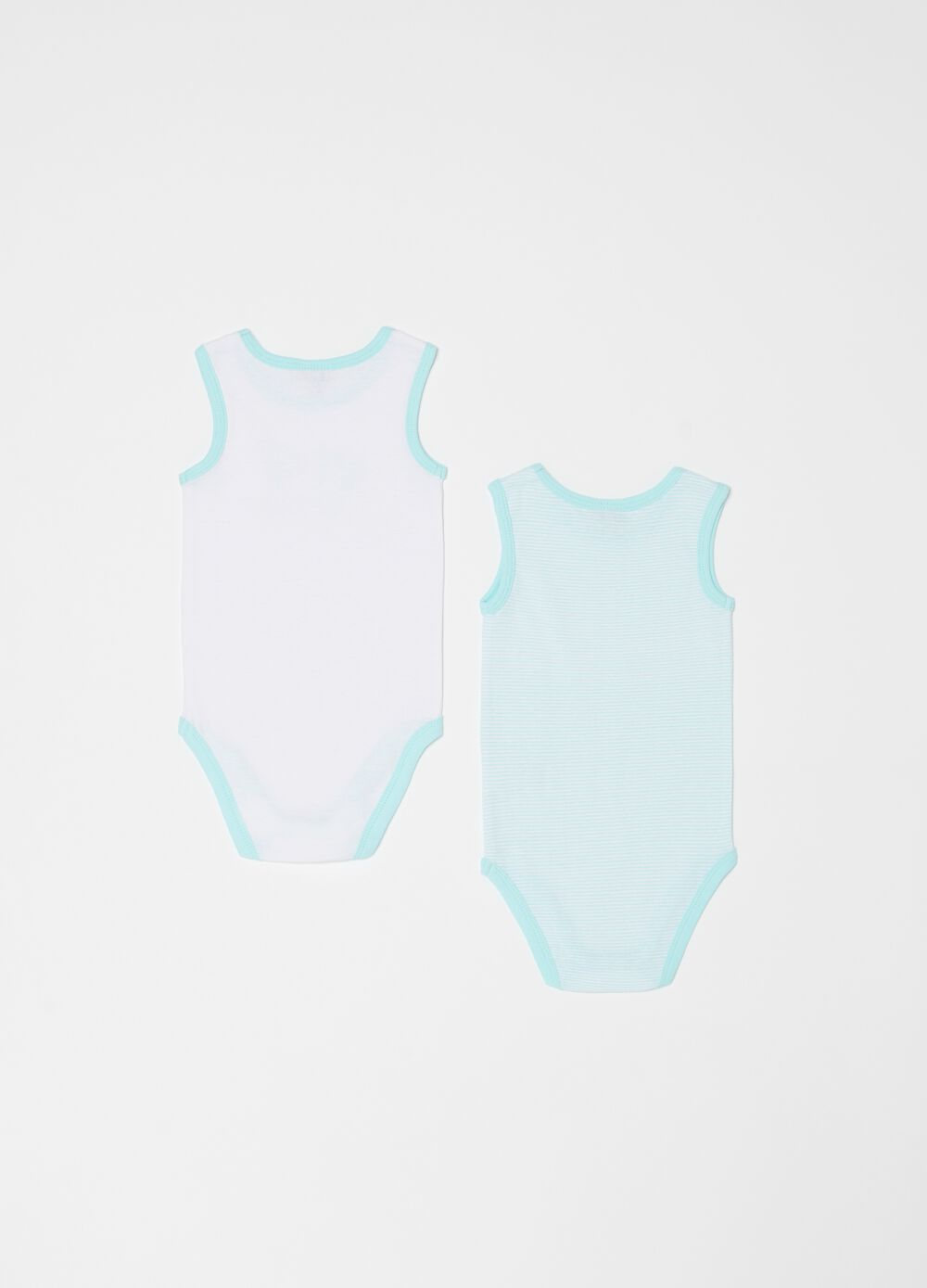Two-pack of sleeveless patterned bodysuits