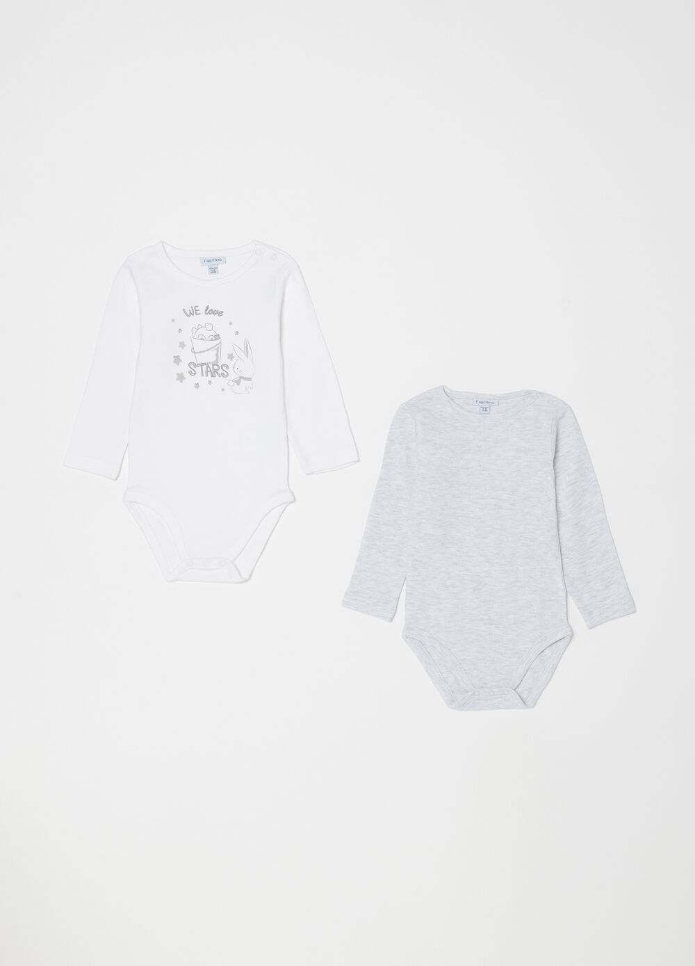 Two-pack bodysuits mélange and printed