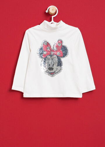Stretch cotton turtleneck jumper with Minnie Mouse and sequins