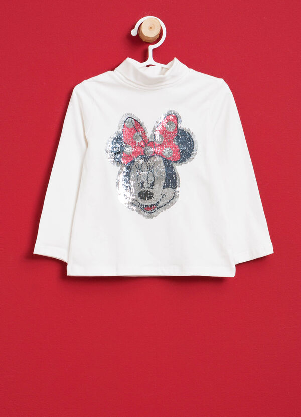 Stretch cotton turtleneck jumper with Minnie Mouse and sequins | OVS