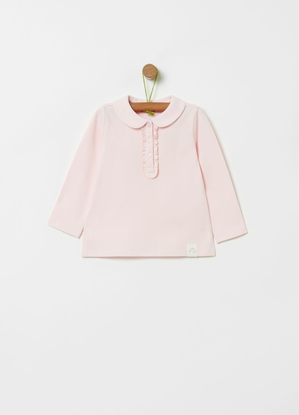 Organic cotton polo shirt with long sleeves