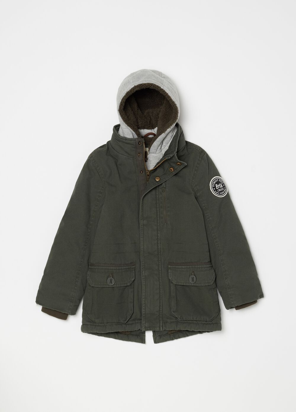 Parka in 100% cotton with fleece lining