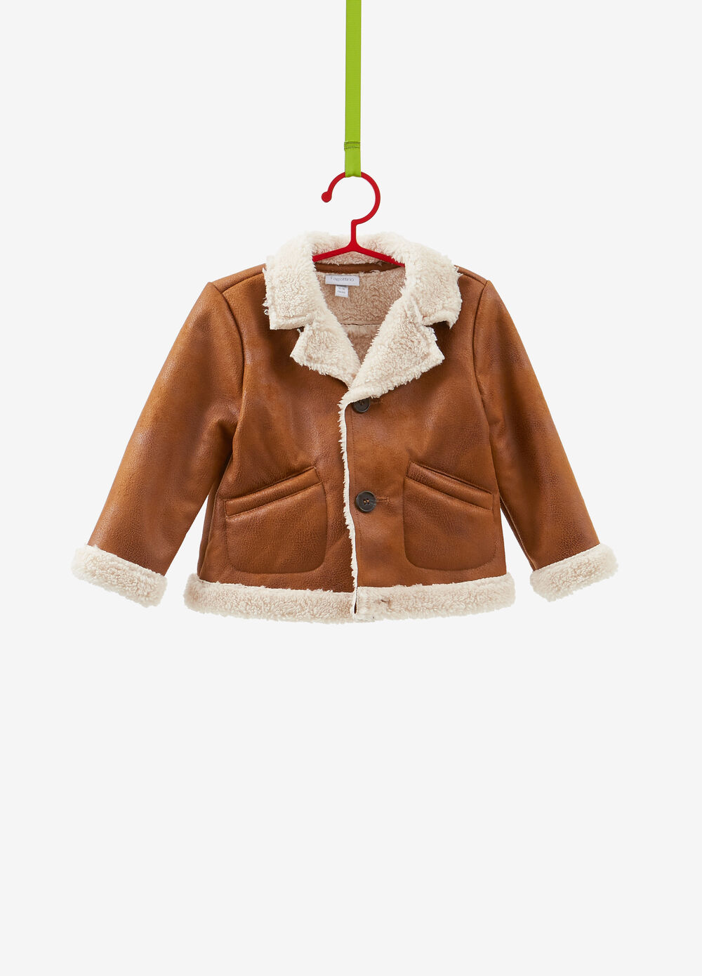 Jacket with lapels and faux fur