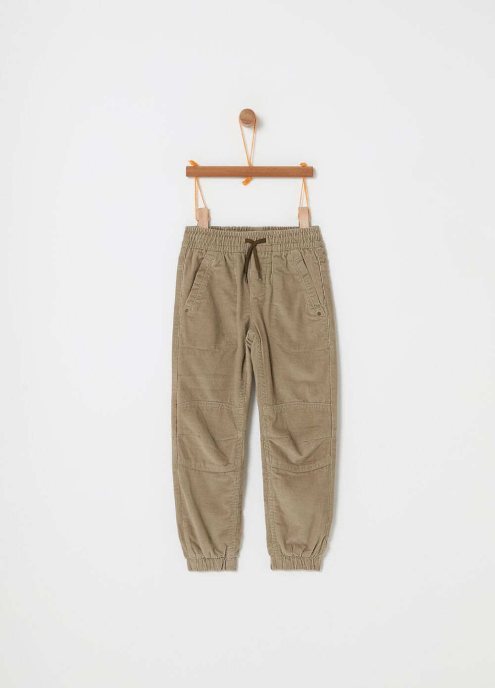 Ribbed jogger trousers in 100% cotton