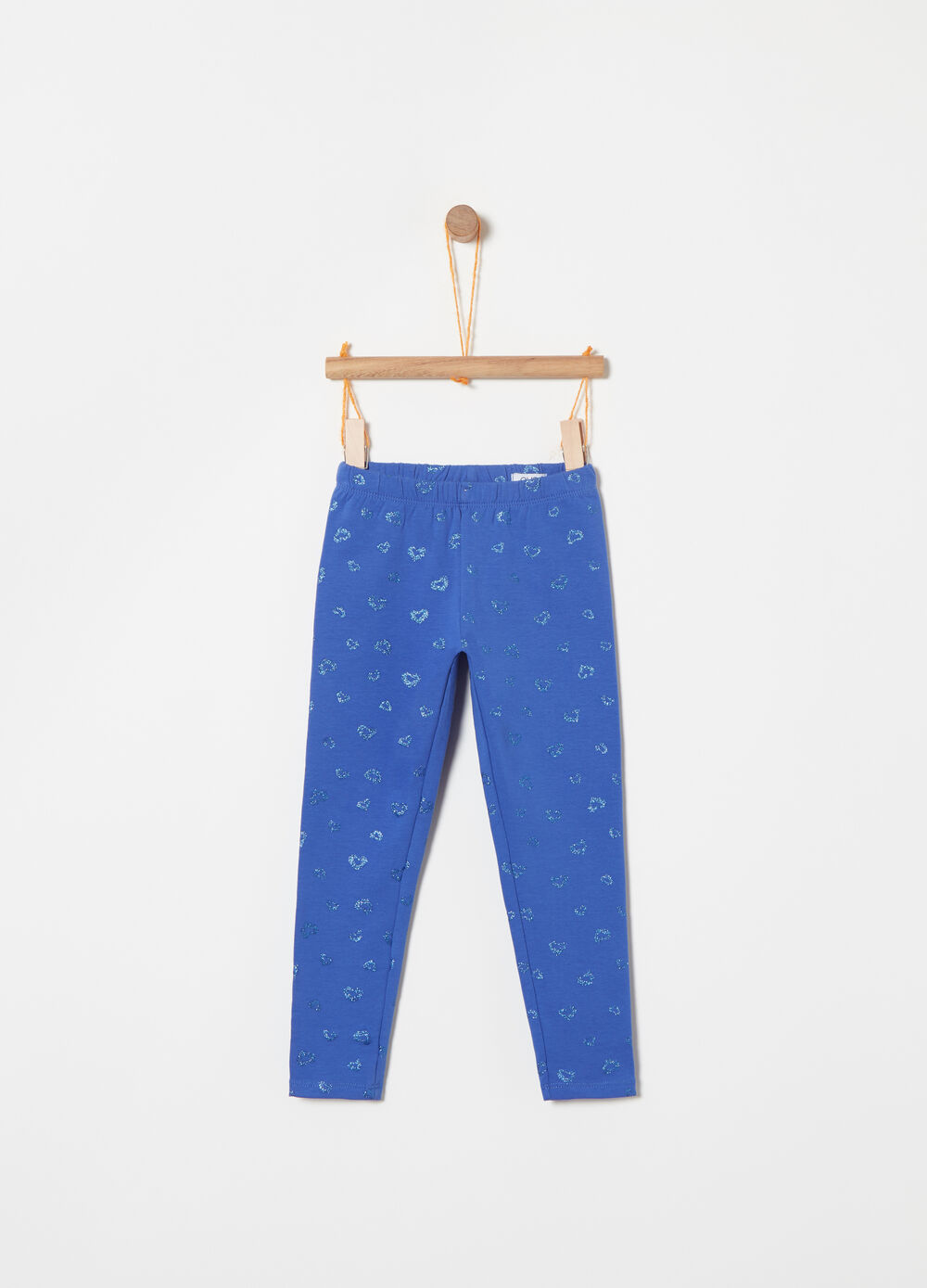 Stretch fleece leggings with glitter pattern