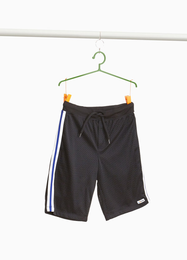 Openwork Bermuda shorts with bands on the sides