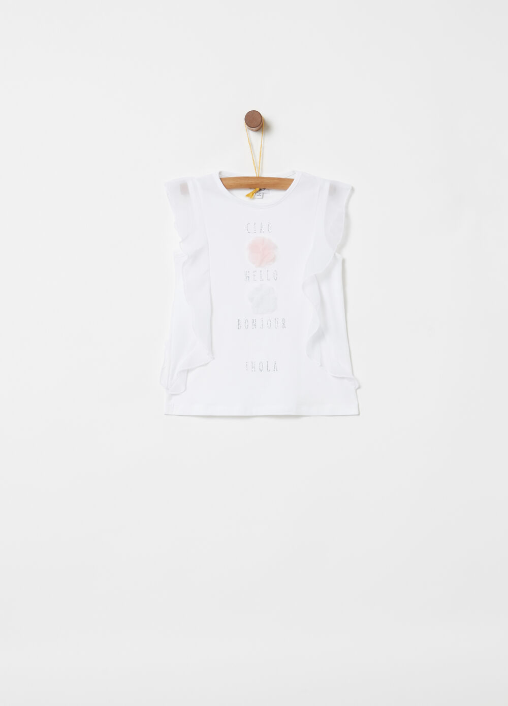 Sleeveless T-shirt with tulle flounce and glitter print